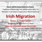 "South Antrim Living Memories Project presents ""Irish Migration""."