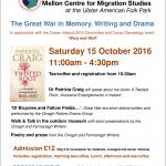 The 17th Literature of Irish Exile - Autumn School at the Mellon Centre for Migration Studies.