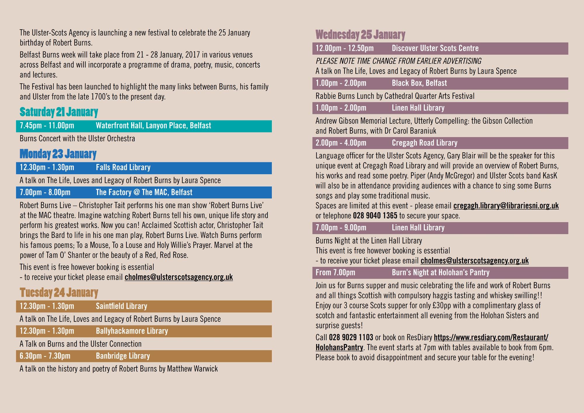Belfast Burns Week Flyer Page 2