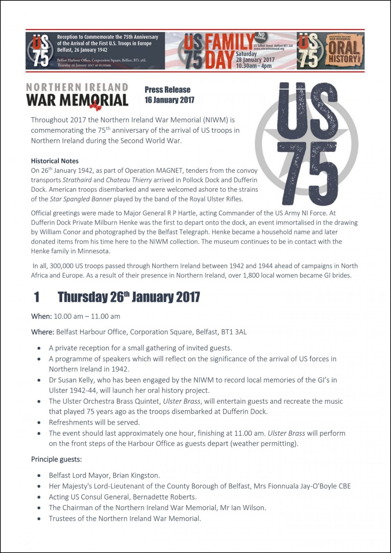Northern Ireland War Memorial Press Release 1