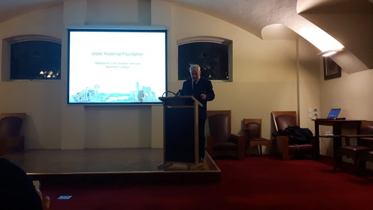 Fintan speaking in the Oratory, Newman College, Melbourne (Melbourne Irish Seminar) 30 May 2017