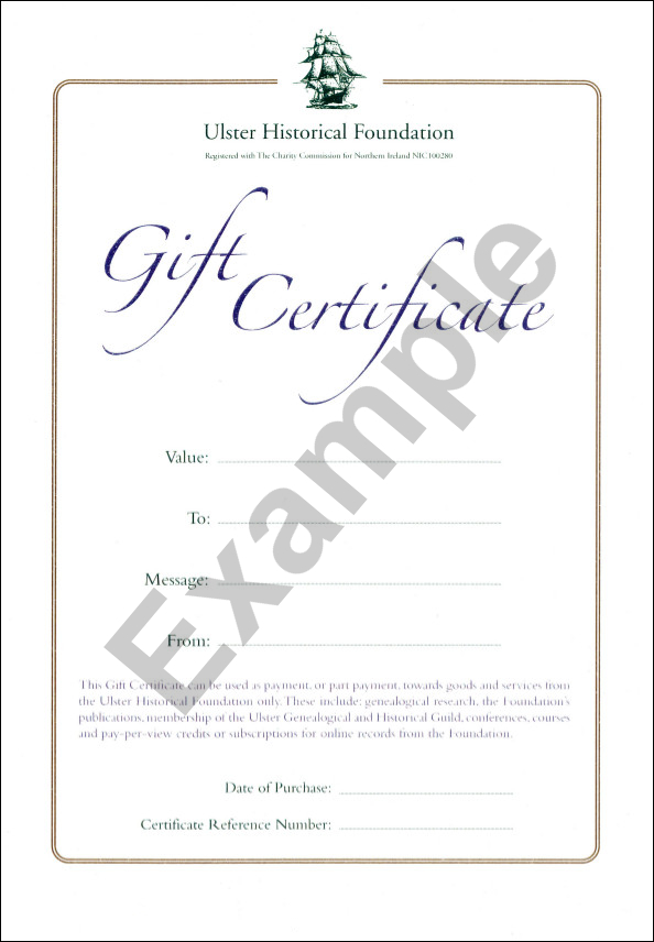 gift certificates ulster historical foundation