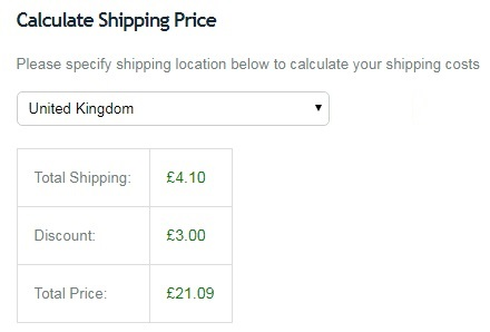 Shipping cost example showing Guild member discount