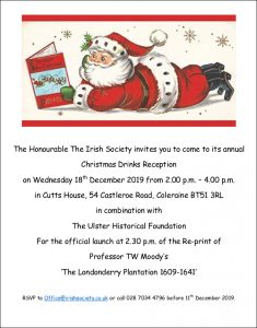 Irish Society Christmas party invitation